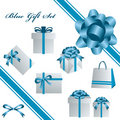 Blue gift set Royalty Free Stock Image