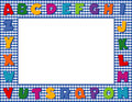 Blue Gingham Alphabet Frame Royalty Free Stock Photos