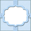 Blue Gingham with Ribbon Background for your message or invitati Stock Photography