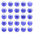 Blue Glass Buttons Stock Photos