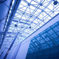 Blue glass ceiling in office Royalty Free Stock Photography