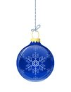 Blue glass christmas ball vector illustration Stock Photos