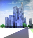 Blue glass city with office building in sky Royalty Free Stock Photo