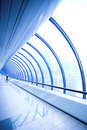Blue glass corridor Royalty Free Stock Photo