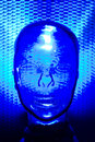Blue glass human head Stock Photos