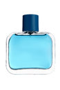 Blue glass perfume bottle isolated on white Royalty Free Stock Images