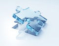 Blue glass puzzle d render concept design Stock Image