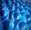 Blue glass test tubes Royalty Free Stock Images