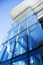 Blue glass wall of modern office building Royalty Free Stock Photo