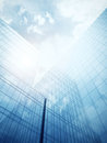 Blue glass wall of skyscraper clean modern Royalty Free Stock Photo