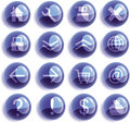 Blue Glass web icons, buttons Royalty Free Stock Photography