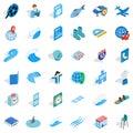 Blue globe icons set, isometric style Royalty Free Stock Photo
