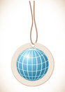 Blue globe, Label with cord Royalty Free Stock Photos
