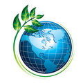 Blue globe with plant Royalty Free Stock Photo