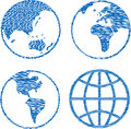 Blue globe rubber stamp set sketchy a of globes as stamps Royalty Free Stock Photo