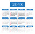 Blue glossy calendar for 2013 Royalty Free Stock Photos