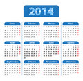 Blue glossy calendar for year in spanish mondays first vector illustration Royalty Free Stock Photography