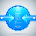Blue glossy circle with two arrows pointing to it. Useful for presentations or web design.