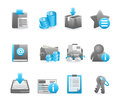 Blue glossy icon set Royalty Free Stock Photo