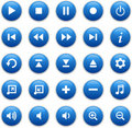 Blue glossy media buttons Stock Images
