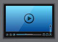 Blue glossy video player template Royalty Free Stock Photo