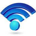 Blue glossy wi fi d sign on white background Royalty Free Stock Images