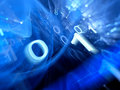 Blue glowing binary code stream abstract background