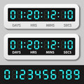 Blue glowing digital numbers - countdown timer Royalty Free Stock Images