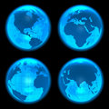 Blue glowing Earth globes Royalty Free Stock Photo