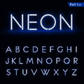 Blue glowing font from a Neon tube. Vector format part 1