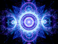 Blue glowing mandala fractal Royalty Free Stock Photo