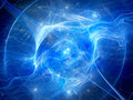 Blue glowing nebula with high energy plasma field in space Royalty Free Stock Photo