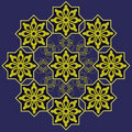 Blue gold Arabic design Stock Image