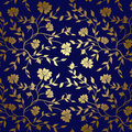 Blue and gold floral texture for background dark vector eps Royalty Free Stock Photos