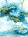 Blue with gold glitter creative abstract hand painted background, marble texture, abstract ocean, acrylic painting on canvas Royalty Free Stock Photo