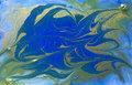 Blue and golden liquid texture, watercolor hand drawn marbling illustration, abstract background