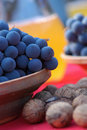 Blue grapes and chestnut Stock Photography