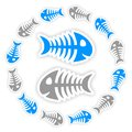 Blue and gray fish bone stickers background with with shadow Royalty Free Stock Photo