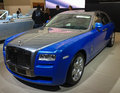 Blue gray rolls royce ghost at the paris motor show Stock Image