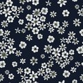 Blue gray small flowers, drawing in pencil illustration, seamless pattern