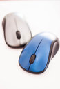 Blue and gray wireless mouse isolated on white background Stock Photography