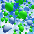 Blue and green balloon sky s released into the Royalty Free Stock Images