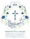 Blue and Green Boy's Baptism/Christening Invitation with Cross Design and Flowers - Hight Resolution or Vector Royalty Free Stock Photo