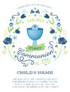 Blue and Green Boys First Holy Communion Invitation with Chalice and Flowers Royalty Free Stock Photo