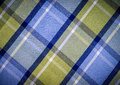 Blue and green checked fabric plaid style pattern Stock Photography
