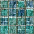 Blue green colored glass square mosaic pattern texture seamless background Royalty Free Stock Photo