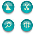 Blue green education web button set Royalty Free Stock Photo
