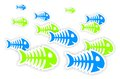 Blue and green fish bone stickers background with with shadow Stock Photos