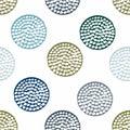 Blue, green geometric seamless pattern with grunge polka dot on white background.