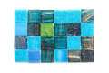 Blue and green  glass mosaic square tiles Royalty Free Stock Photo
